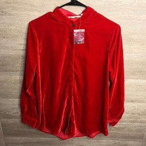 Soft Surroundings S Red Montaigne Long Sleeve Top
